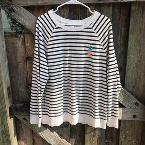 Old Navy black/ white striped pineapple sweatshirt